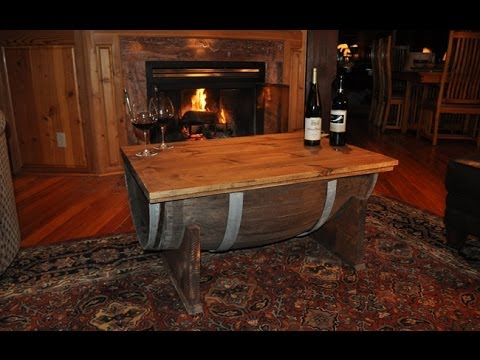 How to Build a Whiskey Barrel Coffee Table - YouTube