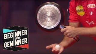 Tischtennis: Timo Boll spielt mit einer Bratpfanne | Teil 2 | Beginner gegen Gewinner | ProSieben