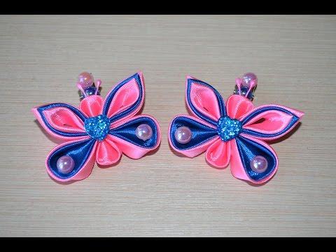 Бабочки канзаши Мастер класс как сделать бабочку своими руками DIY butterfly tutorial handmade