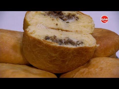 قرص باللحمة المفرومة والجبنة : نجلاء الشرشابي