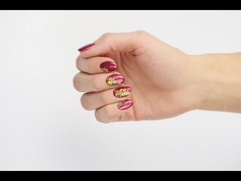 Red Prismatic Nails with Gold Vines - Step-By-Step Nail Art Design Video Tutorial