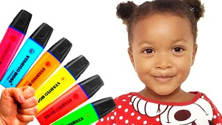 Kira Pretends to play with Magic Pen Preschool toddler learn colors