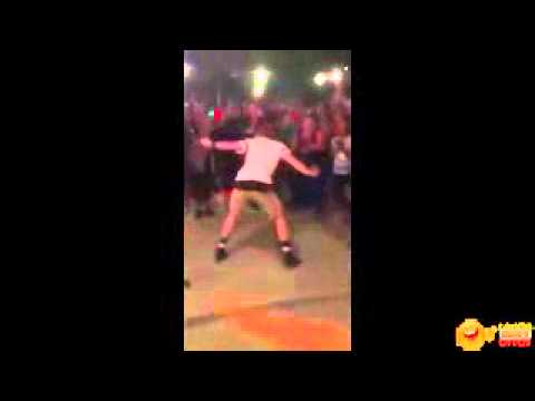 Man burns up the dance floor with Cha Cha Slide - Kills it!
