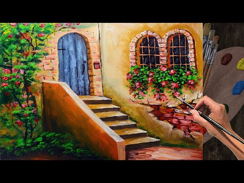 ACRYLIC PAINTING LESSON Stairs with Door and Flowering Windows in easy | ART TUTORIAL FOR BEGINNERS