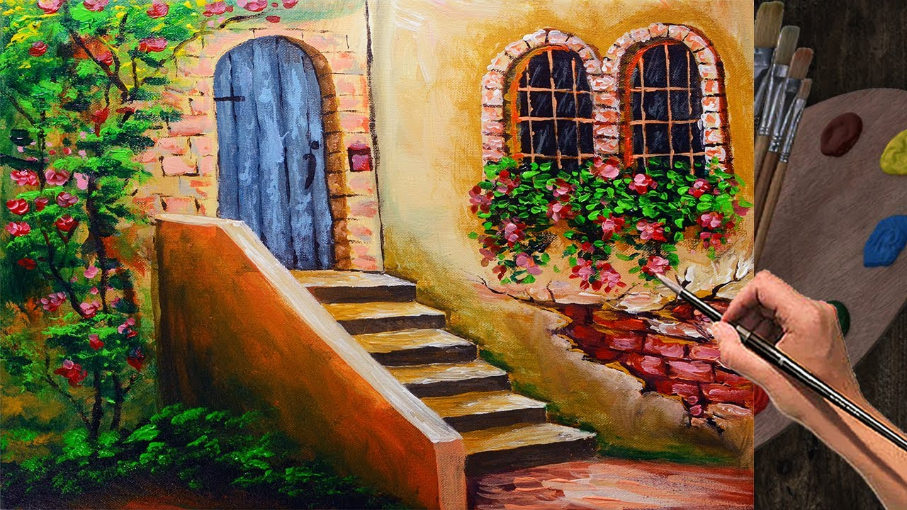 Acrylic Painting Lesson Stairs With Door And Flowering