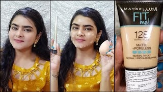 Maybelline Fit me foundation MINI TUBE 128 Warm Nude Review and Demo Ria Das