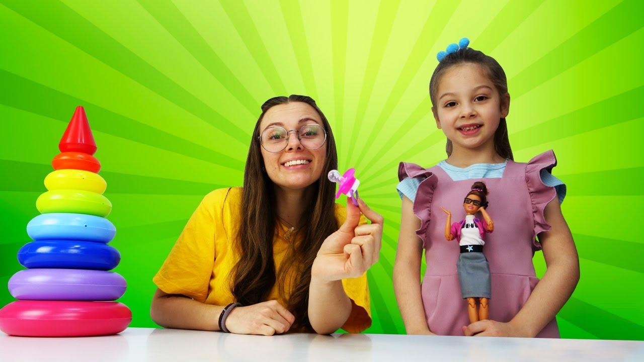 ¿Quién es esta niña? Vídeos divertidos de niñas y muñecas Barbie. ¿Dónde está Barbie niñera?