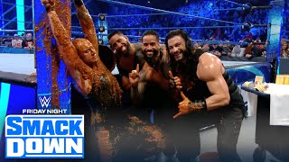 Roman Reigns gets revenge on King Corbin, dousing him with dog food | FRIDAY NIGHT SMACKDOWN