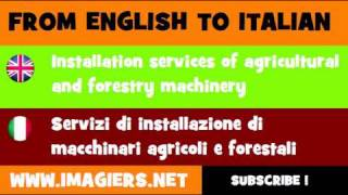 FROM ENGLISH TO ITALIAN = Installation services of agricultural and forestry machinery