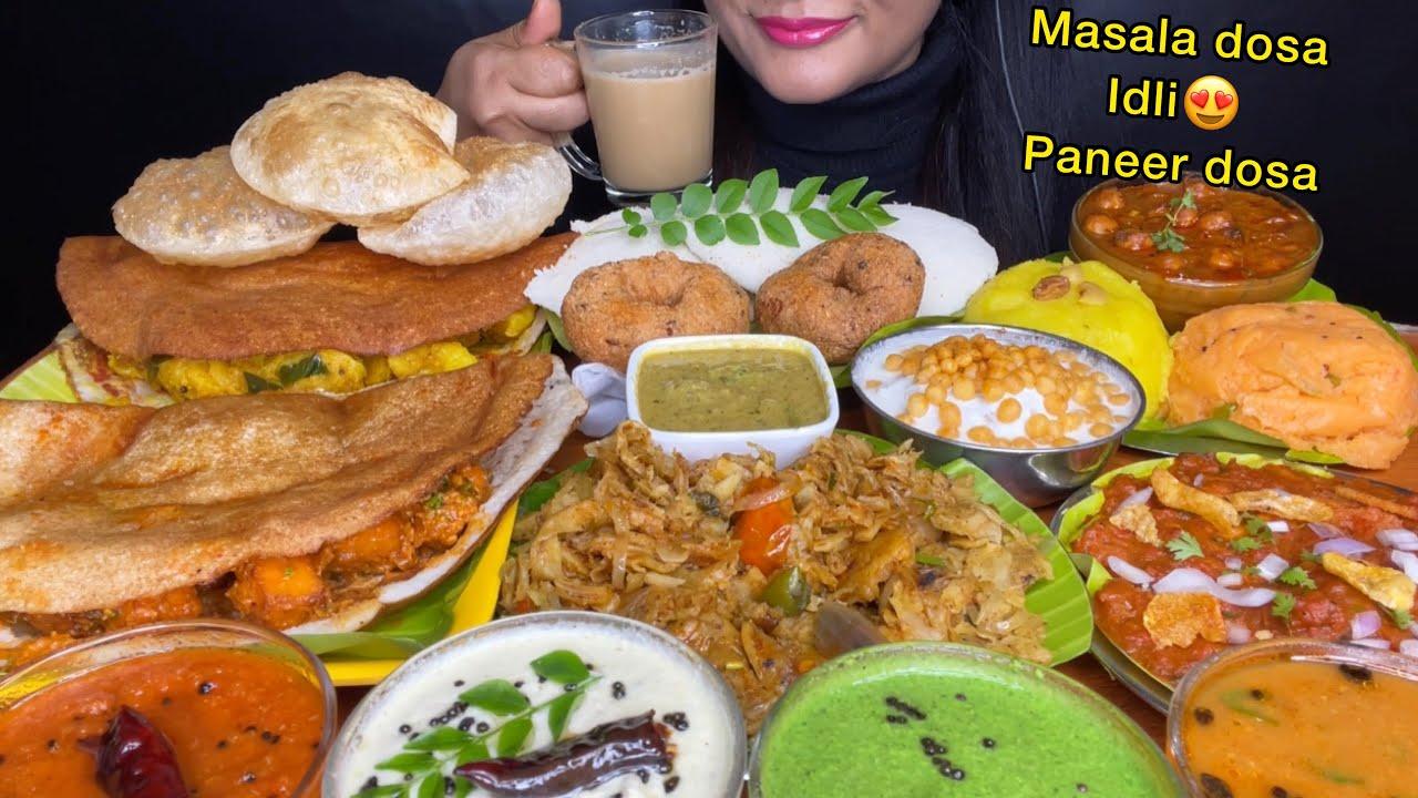 ASMR:EATING MASALA DOSA,MEDU VADA,IDLY SAMBAR,KOTHU PARATHA,KAARA BATH *FOOD EATING VIDEOS *