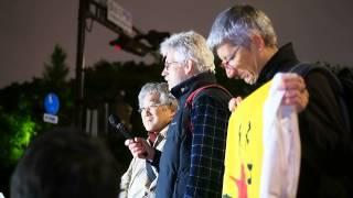 2014.04.18 金曜官邸前抗議:ベラルーシ、ドイツからの参加者〈国会正門前〉