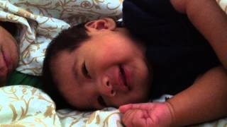 2 month old baby laughing at Daddy's snore