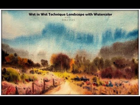 Wet on wet landscape with watercolor easy technique time lapse 1 minute