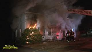Several firefighters injured at Uxbridge, Ma gas fed 3 alarm fire (2010)