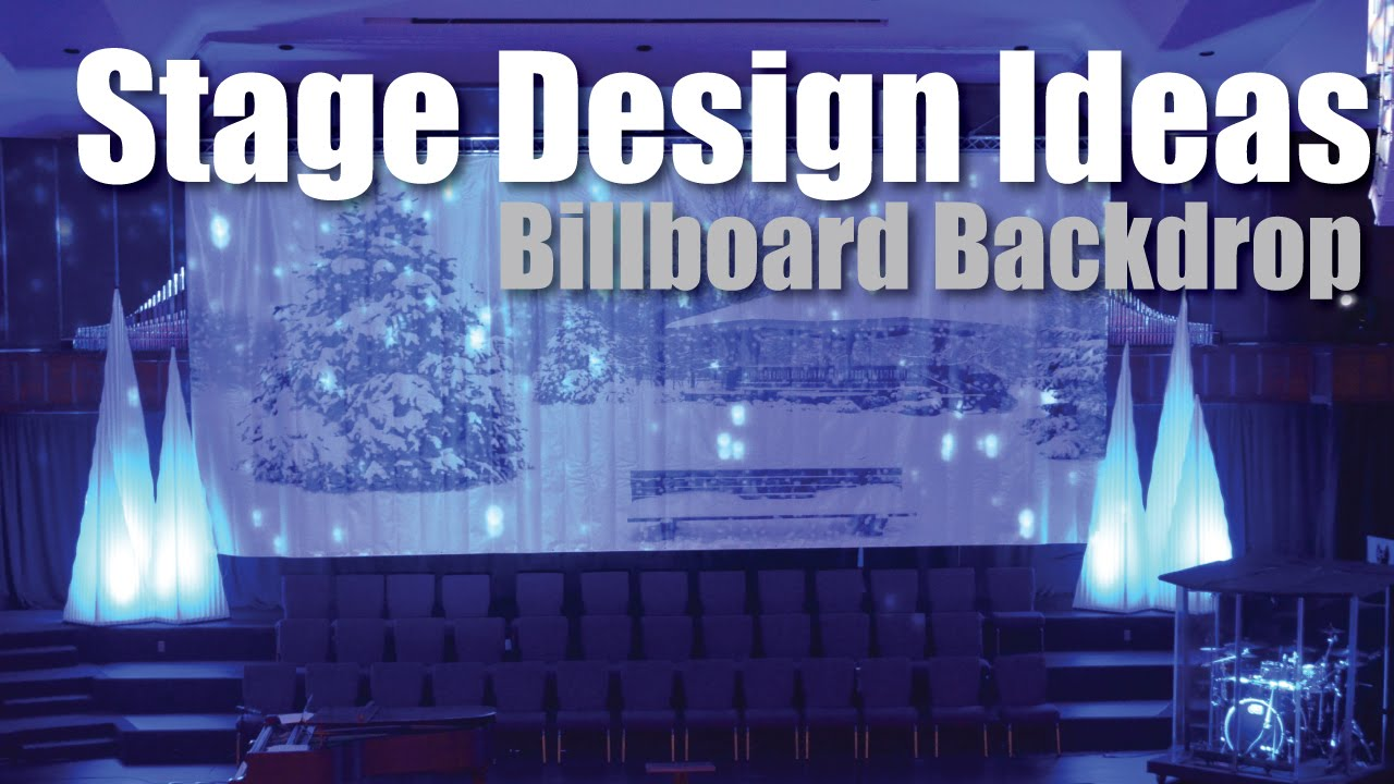 Stage design ideas billboard backdrop youtube for Backdrop decoration for church