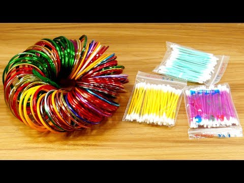 Best craft with cotton buds & Old bangles   DIY arts and crafts   DIY cotton buds