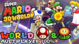 Super Mario 3D World: World Mushroom & World Flower (Bonus World, 4-Player 100% walkthrough)