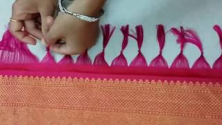 How to make Saree Kuchu | tassels Design using pattu saree | Saree Pallu Knots Design