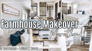 FARMHOUSE MAKEOVER MARATHON 2021 ✻ 3 BEDROOM TRANSFORMATIONS + LAUNDRY ROOM MAKEOVER ON A BUDGET