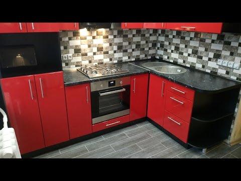 Кухня МДФ. Красный глянец. 2,8 х 1,6м.
