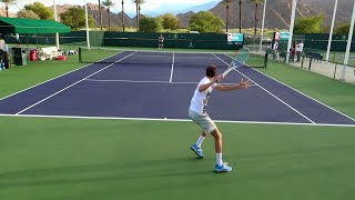 Daniil Medvedev Practice Match Indian Wells ATP - Court Level View Tennis
