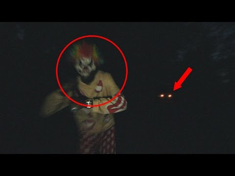 KILLER CLOWN SITING IN THE WOODS