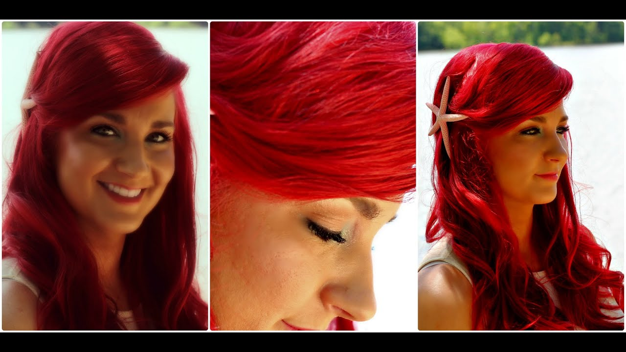 Mermaid Hairstyles ombre mermaid hair tutorialwwwhairextensionsalecom youtube The Little Mermaid Hair Tutorial Ariel Mermaid Hairstyle With Big Swoop Bang Youtube