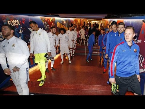 FC Barcelona - Real Madrid: The players in the tunnel before