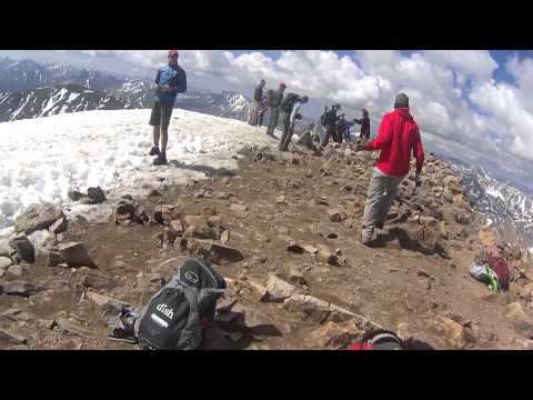 Blind hiker, Trevor Thomas and Tennille summiting Mt. Elbert