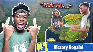 Homeless Man HELPS Me Win A Game of Fortnite: Battle Royale! GIVING BACK TO THE HOMELESS!