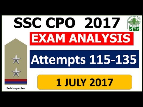 SSC CPO 2017 Exam Analysis (1 July 2017)