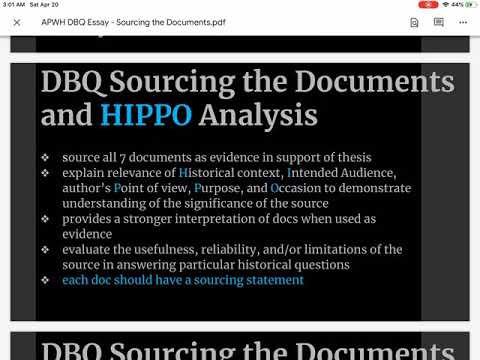 APWH DBQ Essay Sourcing the Documents
