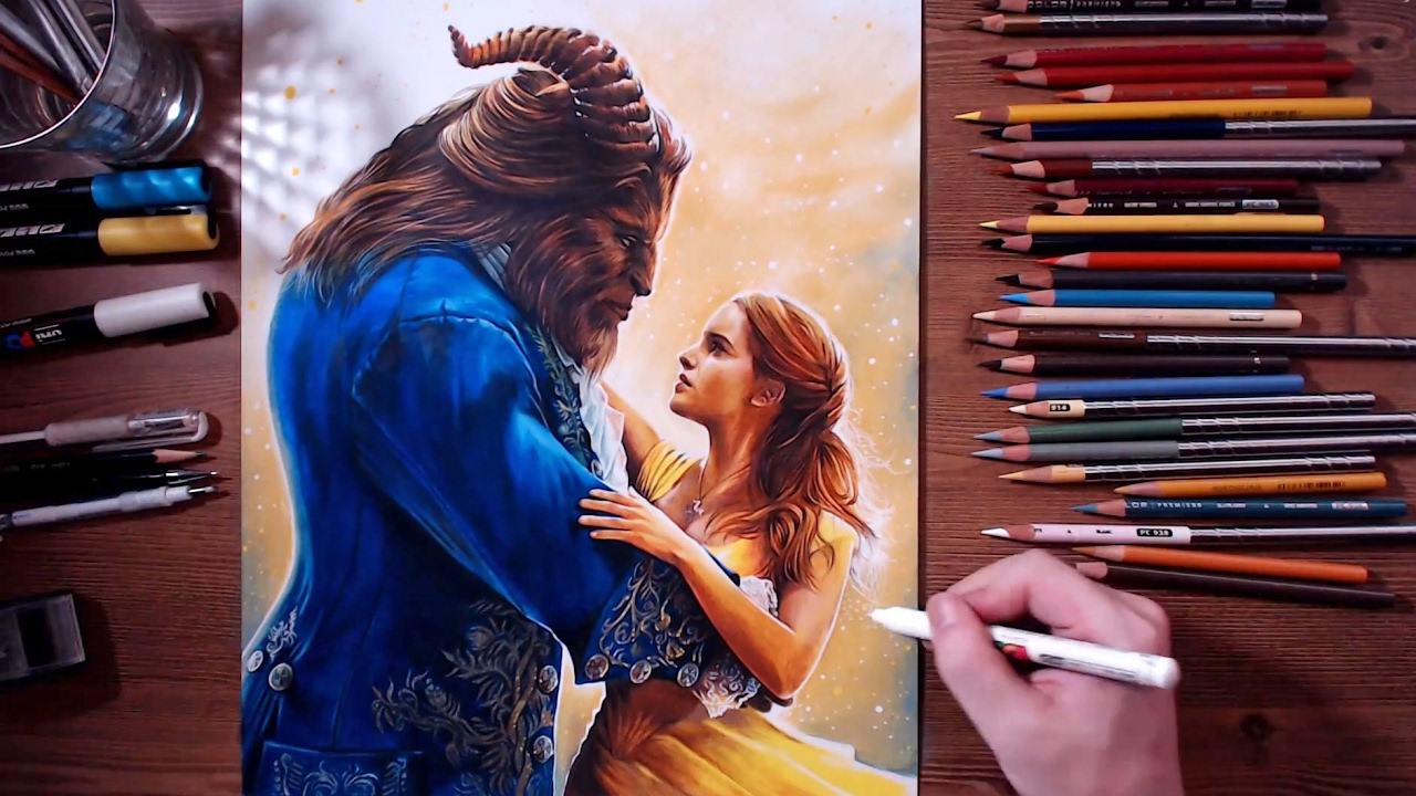 Beauty and the beast colored pencil drawing drawholic