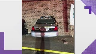 Deputy crashed into gas station trying to avoid dogs, GSP says