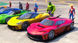 Spiderman CARS Challenge With Superheroes - GTA 5 MODS