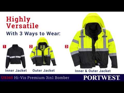 Workwear Mart Portwest 3in1 High Visibility Safety Reflective Jacket