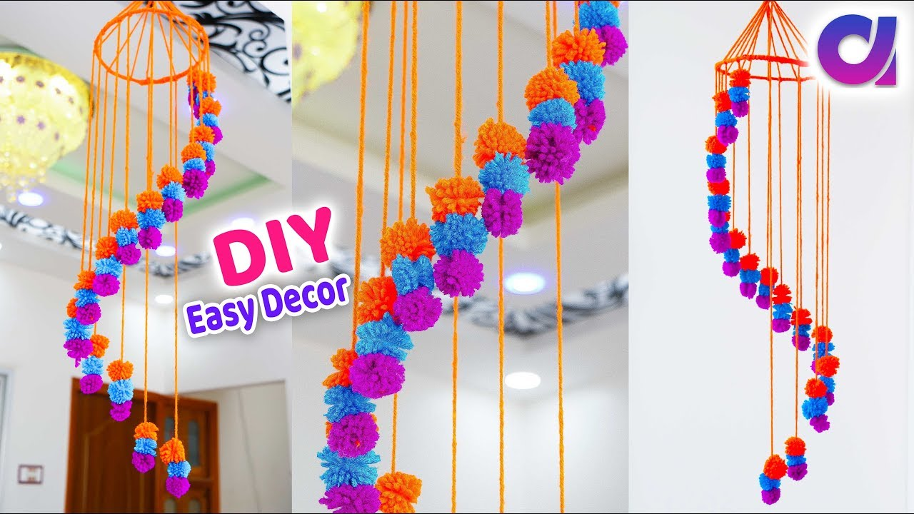 Diy Awesome Ceiling Hanging Idea Waste Wool Craft Idea Craft