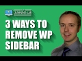 Remove WordPress Sidebar in Avada, Divi & 2017 Theme | WP Learning Lab