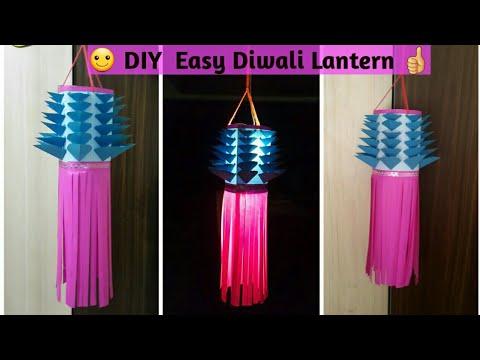 #diwalilantern #akashkandil | DIY Easy Paper Lantern For diwali | DIY Lantern Making #diwalidecor