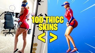 TUTTI 100 THICC FORTNITE SKINS IN REAL LIFE..!