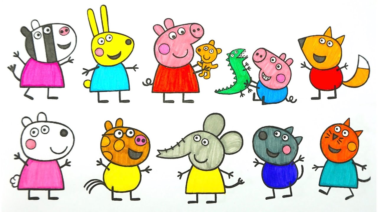Свинка Пеппа раскраска и игрушки из мультика