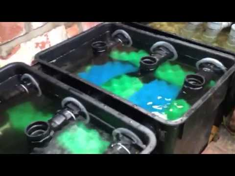 Home made pond filter system youtube for Koi pond filter diy