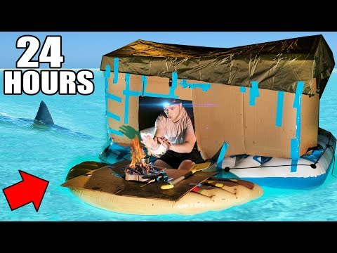 24 HOUR BOX FORT BOAT SURVIVAL CHALLENGE! 📦