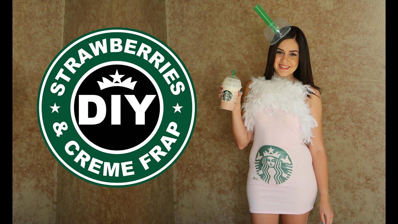 Diy Easy Halloween Costume Starbucks Strawberries Creme Frappucino Lucykiins