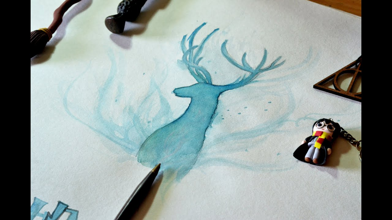 How to draw and paint harry potter 39 s patronus youtube for Pictures to draw on canvas