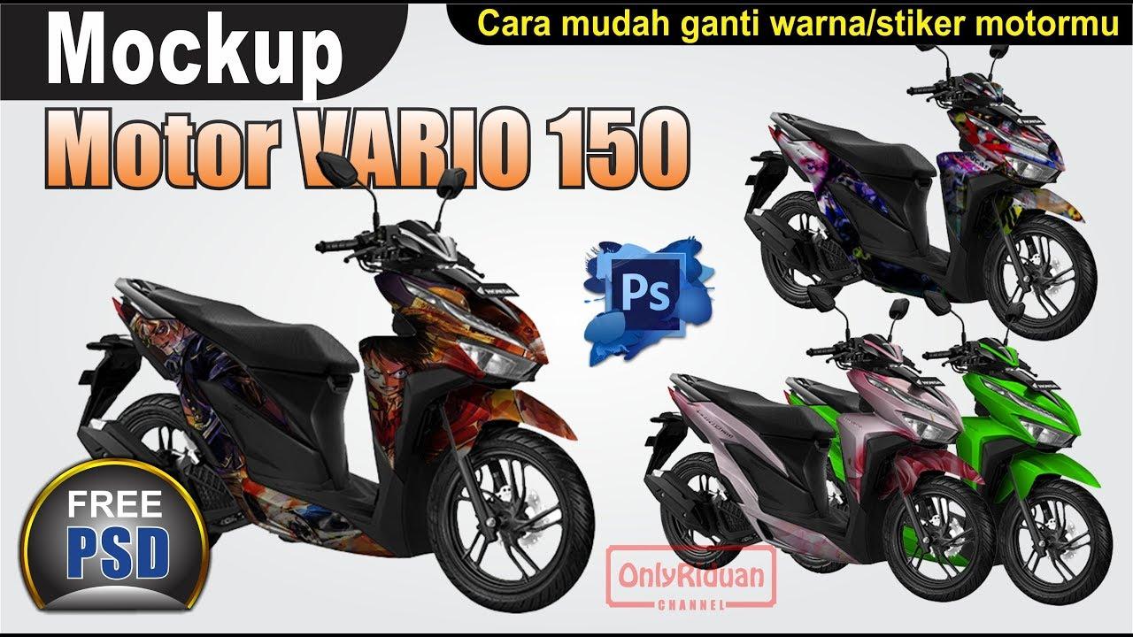 Desain stiker motor mudah dengan mockup motor vario 150 di photoshop mockup design