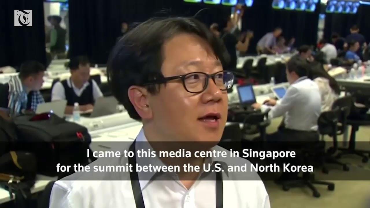 International journalists prepare for Trump Kim summit in Singapore's media center
