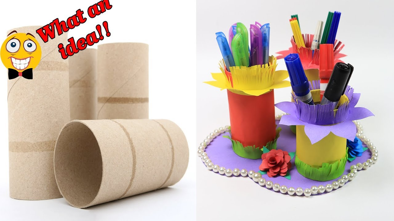 Toilet Paper Roll Crafts How To Make A Pen Pencil Holder With Toilet Paper Rolls Diy Crafts