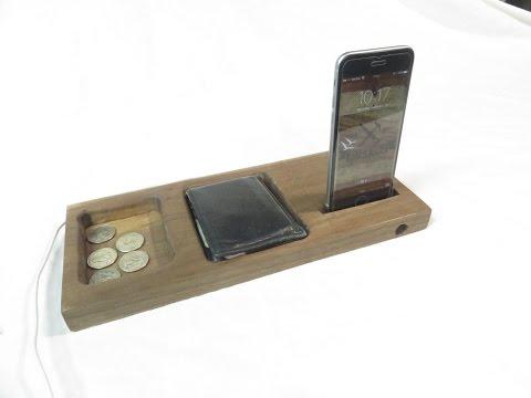 Bedside Phone Dock Valet with Passive Speaker