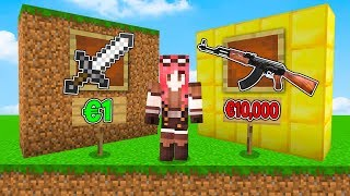 Minecraft ITA - ARMA DA 1 EURO VS ARMA DA 10.000 EURO!!